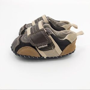 pediped brown all leather sneakers shoes 4 4.5